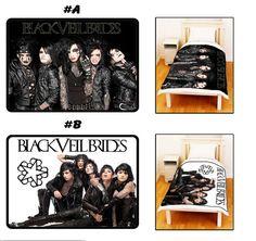 Black Veil Brides BVB Black & White Personalized Bed Throw Fleece Blanket  New Hot Gift