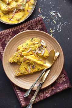 Overhead shot of Hyderabadi Shahi Tukra served in brown plate with pair of spoon and knife. Indian Desserts, Indian Sweets, Indian Food Recipes, Ethnic Recipes, Shahi Tukda Recipe, Recipes Using Condensed Milk, Brown Plates, Best Cinnamon Rolls, Full Fat Milk