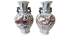 Pair of 1980s hand-painted porcelain wedding vases depicting dragon and phoenix.