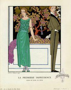 """ilustração """"La Première Imprudence"""" 1921 de George Barbier   (Nantes, 10 de outubro de 1882 - Paris, 1932) foi um dos maiores ilustradores de França do começo do século XX, além de desenhista de moda e pintor.  http://sergiozeiger.tumblr.com/post/99646816813/george-barbier-nantes-10-de-outubro-de-1882"""