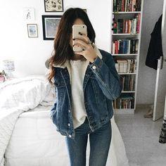 Double jeans, jeans com jeans, jaqueta Jeans, suéter de lã, calça jeasn
