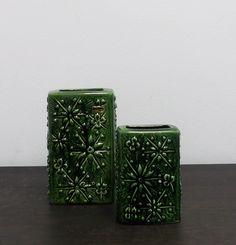 Scheurich Kosmos 263-21 263-15 Vintage Vases Moss-green