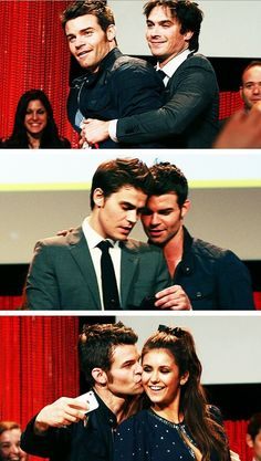 The Vampire Diaries Daniel Gillies(Elijah), Nina Dobrev(Elena), Ian Somerhalder(Damon) & Paul Wesley(Stefan) at Paleyfest 2014 Vampire Diaries Memes, Vampire Diaries Damon, The Vampires Diaries, Serie The Vampire Diaries, Vampire Daries, Vampire Diaries The Originals, Daniel Gillies, Damon Salvatore, Paul Wesley