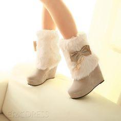 Beautiful Beige Dull Polish Round Toe Fur Decorated Wedge Heel Boots High Heel Boots