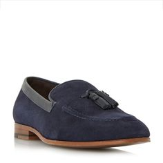 Dune Rutland embossed suede tassel shoes, Navy