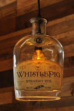WhistlePig Whiskey, recycled bottle lamp, hanging bottle light pendant, great idea for a bar!