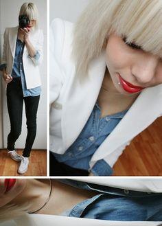 denim shirt, white blazer, black pants, converse, silver necklace