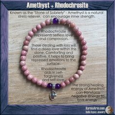 Rhodochrosite represents selfless love and compassion. It is a wonderful stone to use when working with the Heart Chakra and relationships. Those dealing with loss will find a deep love within this stone.  - DEEP LOVE: Rhodochrosite + Amethyst Yoga Mala Bracelet