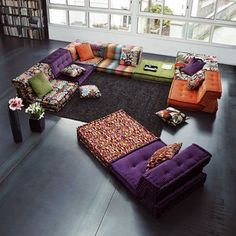 modular-sofa modern living room decor ideas floor couch design decorative pillows