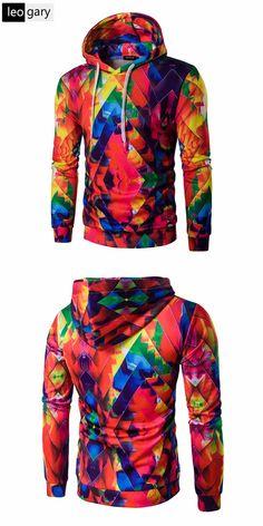 2016 New Winter Men Hoodies Fashion 3D Digital Print Design Casual Hooded Pullover Colorful Man Hoody Sweatshirt Slim Men Hoodie
