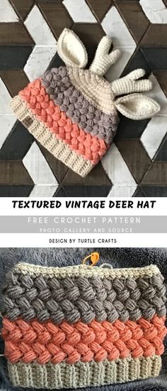Crochet Deer, Crochet Kids Hats, Crochet Crafts, Knit Crochet, Kids Crochet Hats Free Pattern, Girl Crochet Hat, Crochet Toddler Hat, Crochet Projects, Fun Projects