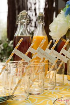Baby shower straw flags in yellow by GoAgainstTheGrain on #etsy $16
