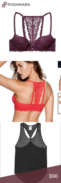 #4. Brand new date bra bundle •1 red date bra original price $41.95.                  •1 Moron date bra  original price $41.95              • 1 black twist back tank  original price $21.95!! All brand new with tags and super cute for summer time ❤️ bras are 36B and tank is S PINK Victoria's Secret Intimates & Sleepwear Bras