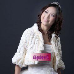 White Faux Fur Sequin Wedding Bridal Evening Bolero Jacket Shrug SKU-11203038