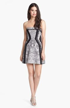 BCBGMAXAZRIA Lace Print Fit & Flare Dress available at #Nordstrom