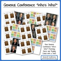 """LDS General Conference """"Who's Who?"""" Matching Game learn about the 12 Apostles and First Presidency."""
