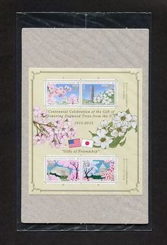 Japan 2015 MNH Gifts Of Friendship Japan-USA Joint Issue Half Sheet of 4 Stamps