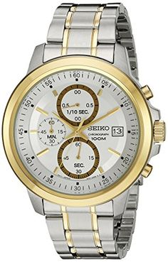 Seiko Chronograph Two Tone Stainless Steel Silver Dial Male Watch SKS456 *** You can find out more details at the link of the image.