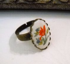Vintage Glass Tulip Cabochon Ring with by lucindascharms on Etsy, $16.00