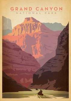 iCanvas Art & Soul Of America National Parks Collection: Grand Canyon National Park (Colorado River Kayaking) Gallery Wrapped Canvas Art Print by Anderson Design Group Parque Nacional Do Grand Canyon, Diy Poster, Poster Wall, Old Posters, Retro Posters, Pub Vintage, Vintage Style, Retro Style, Vintage Inspired