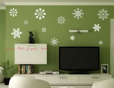 Snowflake Set of 12  Snowflake wall decals by GroveMillsGraphics, $24.00