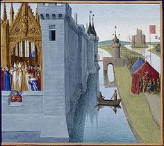 Jean Fouquet : Coronation of Louis VI the Big Grand Chronicles of France (National Library of France) ジャン・フーケ Medieval Paintings, European Paintings, Medieval Life, Medieval Art, Medieval Manuscript, Illuminated Manuscript, Louis Vi Le Gros, Jean Fouquet, Art Roman