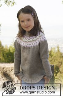 "Knitted DROPS jumper with round yoke and flounce in ""Merino Extra Fine"". Size 3 to 12 years. ~ DROPS Design"