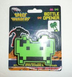 Space Invaders Green Alien Bottle Opener For Beer, Soda Bottles - UFO Video Game