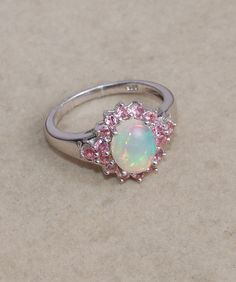 Ethiopian Opal, Pink Tourmaline 925 Sterling Silver Ring Jewelry/ Prong Set Handmade Ring/ Multicolor Opal Cabochon Ring/ Women Ring Gift by silverjewelry2015 on Etsy https://www.etsy.com/listing/238875569/ethiopian-opal-pink-tourmaline-925