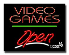 """Video Games Open Neon Sign - Script Text - 24""""x31""""-ANS1500-6468-3g  31"""" Wide x 24"""" Tall x 3"""" Deep  Sign is mounted on an unbreakable black or clear Lexan backing  Top and bottom protective sides  110 volt U.L. listed transformer fits into a standard outlet  Hanging hardware & chain included  6' Power cord with standard transformer  Includes 2nd transformer for independent OPEN section control  For indoor use only  1 Year Warranty on electrical components."""