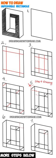 How to Draw an Impossible Square or Rectangle : Easy Step by Step Drawing Tutori. How to Draw an Impossible Square or Rectangle : Easy Step by Step Drawing Tutorial - Illusion Drawings, 3d Drawings, Illusion Art, Cartoon Drawings, Drawing Sketches, Drawing Art, Eye Sketch, Easy Pencil Drawings, Drawing Lips