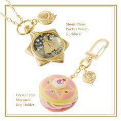 Sailor Moon | Moon phase Pocket Watch Necklace & Star Marcaroon Key Holder | q-pot.jp/shop/ | Designer: Tadaaki Wakamatsu