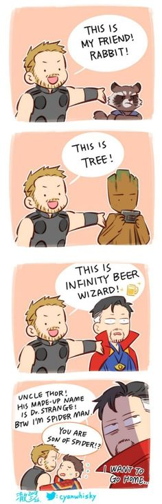 Thor & the Avengers Marvel Jokes, Marvel Dc Comics, Marvel Avengers, Funny Marvel Memes, Dc Memes, Avengers Memes, Marvel Heroes, Funny Comics, Funny Memes