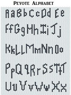 Free Peyote Alphabet for Beaded Needle Cases Peyote Beading Patterns, Peyote Stitch Patterns, Bead Loom Patterns, Loom Beading, Diy Bracelets Patterns, Beaded Jewelry Patterns, Cross Stitch Letters, Brick Stitch Earrings, Beaded Crafts