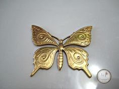 SAVE 10% use coupon code PIN10 Beautiful raw brass stamped butterfly, pretty detailing and nice size for most all your jewelry designs.  Quantity: 1  Size: 38mm x 31mm  ITEM#: 62F-V7-2015   Please stop b... #butterflies #manufacturer