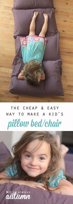 Sewing Pillows so cute! the cheapest and easiest way to make a kids' pillow bed. free sewing pattern and tutorial - learn how to make a pillow bed or pillow chair for kids the cheap Sewing Patterns Free, Free Sewing, Sewing Tutorials, Sewing Ideas, Hand Sewing, Fabric Crafts, Sewing Crafts, Sewing Projects, Diy Crafts