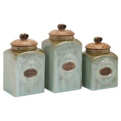 Perfect for stowing dry ingredients in the kitchen or craft supplies in the den, this lovely canister set features embossed designs in gray....