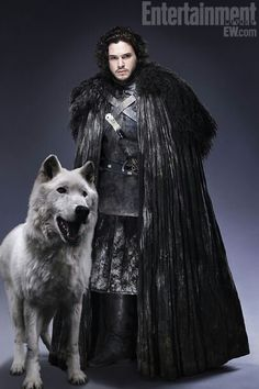 Kit Harrington as Jon Snow and his dire wolf Ghost from Game of Thrones