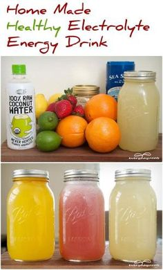 Commercial energy drinks are junk.  -1/4 cup freshly squeezed lemon juice -1/2 cup freshly squeezed orange juice -1 ½ to 2 cups of fresh water -1/8 teaspoon of sea salt -2 tablespoons natural sugar or honey, to taste OR -3 cups of coconut water -1 cup of strawberries -1 cup of fresh water -1 cup of ice -1/8 teaspoon of sea salt -2 tablespoons natural sugar or honey, to taste by clara
