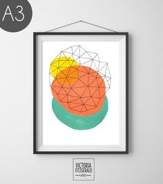 Coral Turquiose and Yellow Abstract Geometric Print - A3 Print - vfitzartist