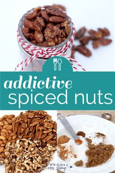 Addictive spiced nuts So easy and tasty and giftable! Nut Recipes, Baking Recipes, Snack Recipes, Candy Recipes, Oreo Dessert, Mini Desserts, Plated Desserts, Holiday Baking, Christmas Baking