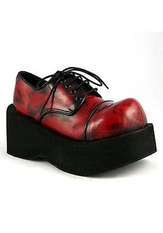 94cca10638a Shoes and Footwear 155347  Demonia By Pleaser Red Dank 101 Platform Gothic  Lace Up Shoes