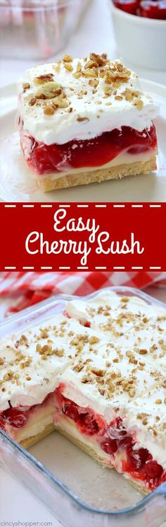 Easy Cherry Cheesecake Lush- a creamy cheesecake layer, then cheesecake pudding,. Easy Cherry Cheesecake Lush- a creamy . Cherry Desserts, Layered Desserts, Cherry Recipes, Köstliche Desserts, Summer Desserts, Delicious Desserts, Cherry Cake, Cherry Ideas, Cheesecake Recipes