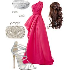A fashion look from July 2014 featuring one shoulder dress, high heels sandals and white purse. Browse and shop related looks. White Purses, High Heels, Fashion Looks, Shoulder Dress, Formal Dresses, Polyvore, Closet, Shopping, Dresses For Formal