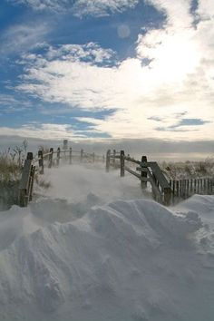 The day after Christmas a nice snowstorm blew through. This is a shot of a beach path in Stone Harbor, New Jersey. It was windy and cold, but worth it.