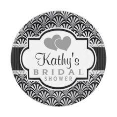 Black & Silver Vintage Art Deco Bridal Shower 7 Inch Paper Plate