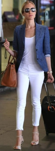Travel Style / White Pants, Cami, Blue Blazer & heels.