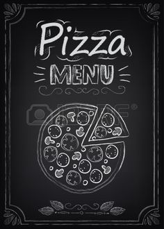 Illustration of Pizza. Illustration of a vintage graphic element for menu on the chalkboard vector art, clipart and stock vectors. Menu Pizza, Pizza Logo, Pizza Art, Pizza Pizza, Chalkboard Vector, Chalkboard Lettering, Chalkboard Designs, Speisenkarten Designs, Pizza Cartoon