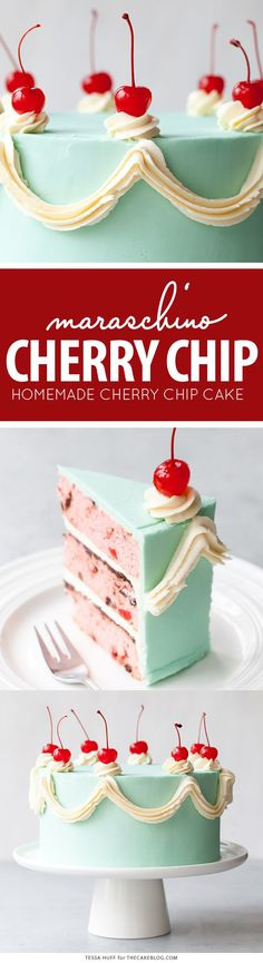Cherry Chip Cake - maraschino cherry cake studded with chocolate chips, layered with chocolate ganache and finished with a whipped vanilla buttercream frosting   by Tessa Huff for TheCakeBlog.com