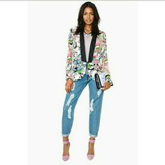 Mustard Seed Blazer Floral multi-colored blazer..100% Polyester. Mustard Seed Jackets & Coats Blazers